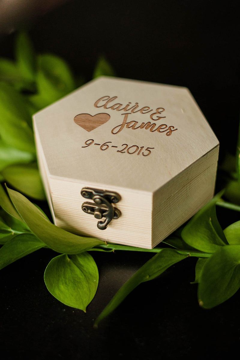 Elegant Hexagon Decoration Wood Jewelry Box    - GlobalWedding