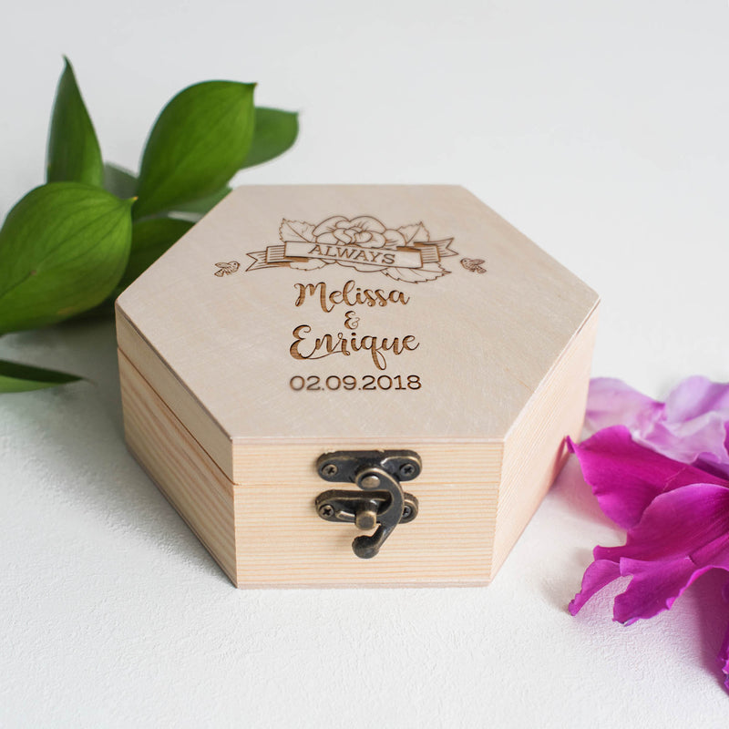 Hexagon Engraved Personalized Geometric Jewelry Box    - MatchMadeAbroad