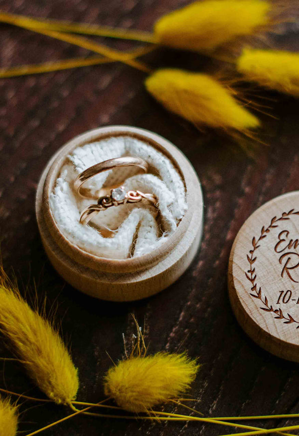 Engraved Round Rustic Ring Box  Ring Box  - GlobalWedding