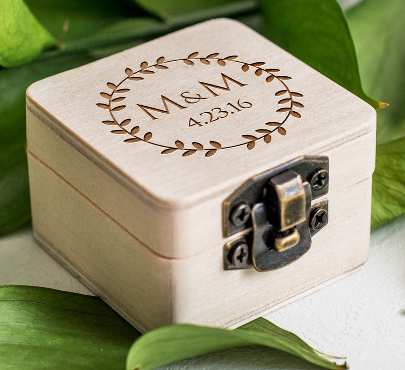 Custom Rustic Wooden Wedding Ring Holder  Ring Box  - MatchMadeAbroad
