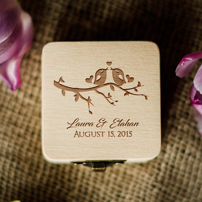 Engagement Wooden Personalised Ring Box  Ring Box  - MatchMadeAbroad