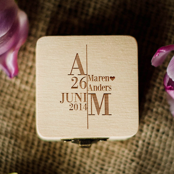Custom Rustic Wooden Wedding Ring Holder  Ring Box  - GlobalWedding