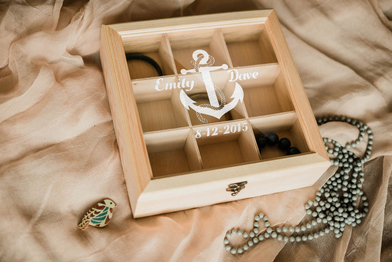 Custom Engraved Geometric Jewelry Box    - GlobalWedding