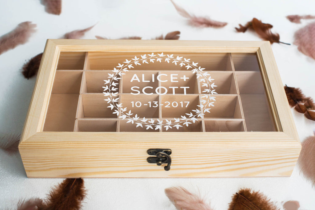 Custom Large Geometric Engraved Jewelry Box    - GlobalWedding