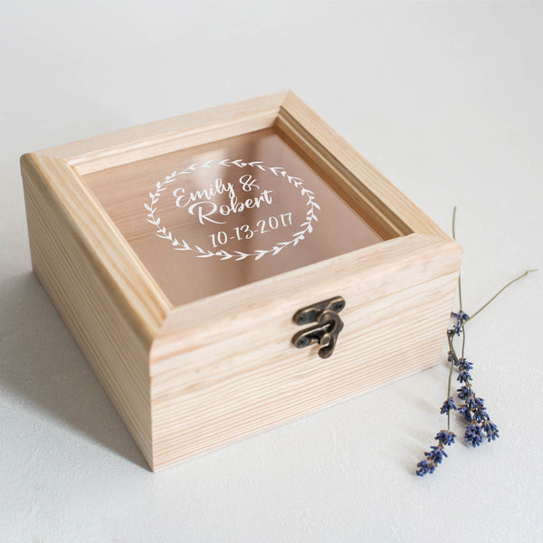 Modern Personalized Wood Glass Jewelry Box