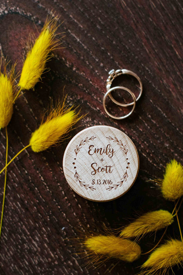 Round Rustic Personalized Handmade Ring Bearer Box