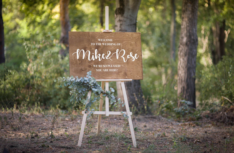 Large Bridal Rustic Wedding Welcome Sign    - MatchMadeAbroad