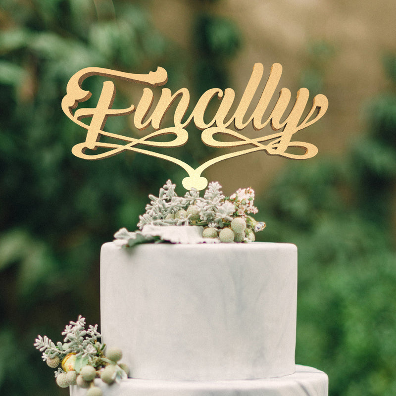 Natural Finally Calligraphy Decoration Cake Topper