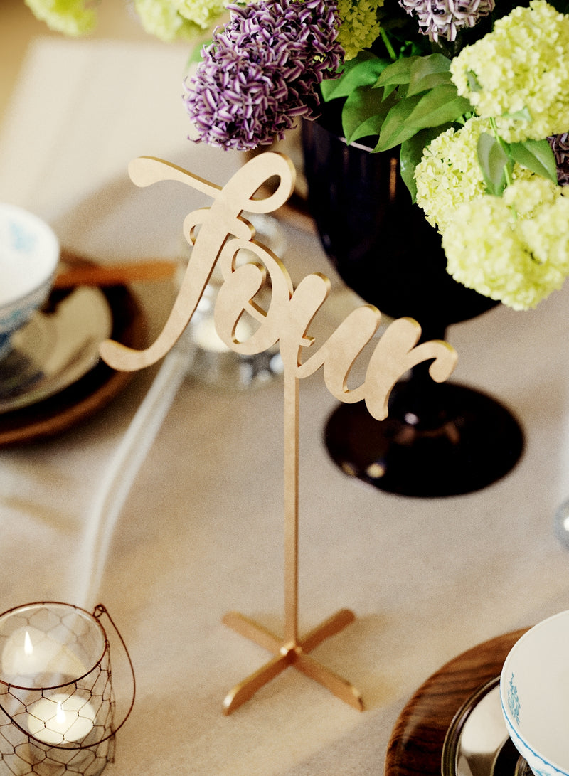 Silver Elegant Gold Wedding Table Number