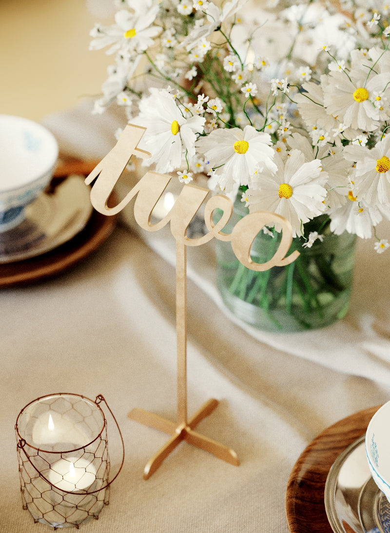 Vintage Modern Decoration Gold Wedding Table Number