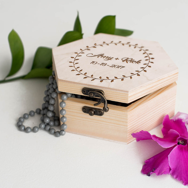 Wood Decoration Hexagon Jewelry Box