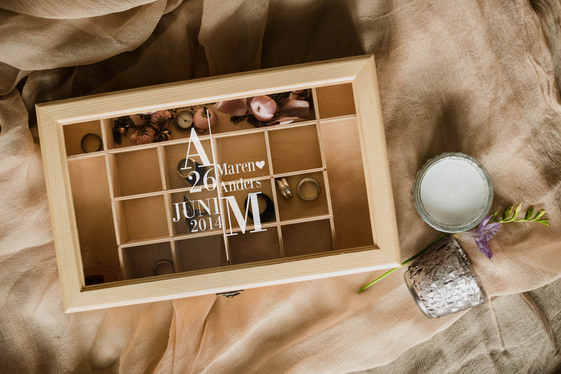 Custom Wood Handmade Modern Jewelry Box    - GlobalWedding