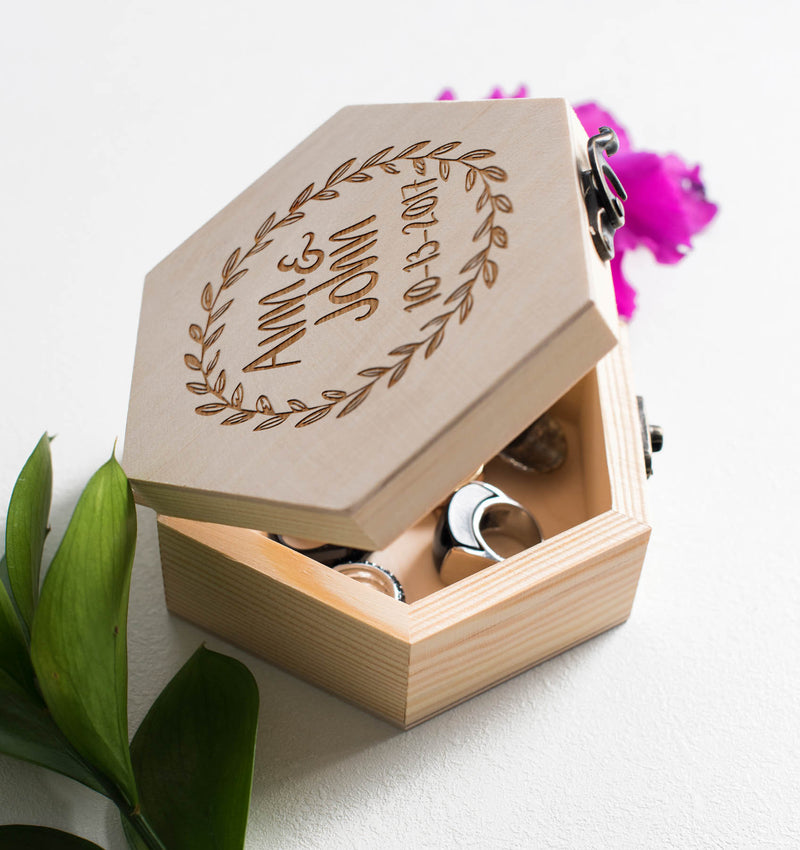 Geometric Wood Vintage Engraved Jewelry Box    - MatchMadeAbroad