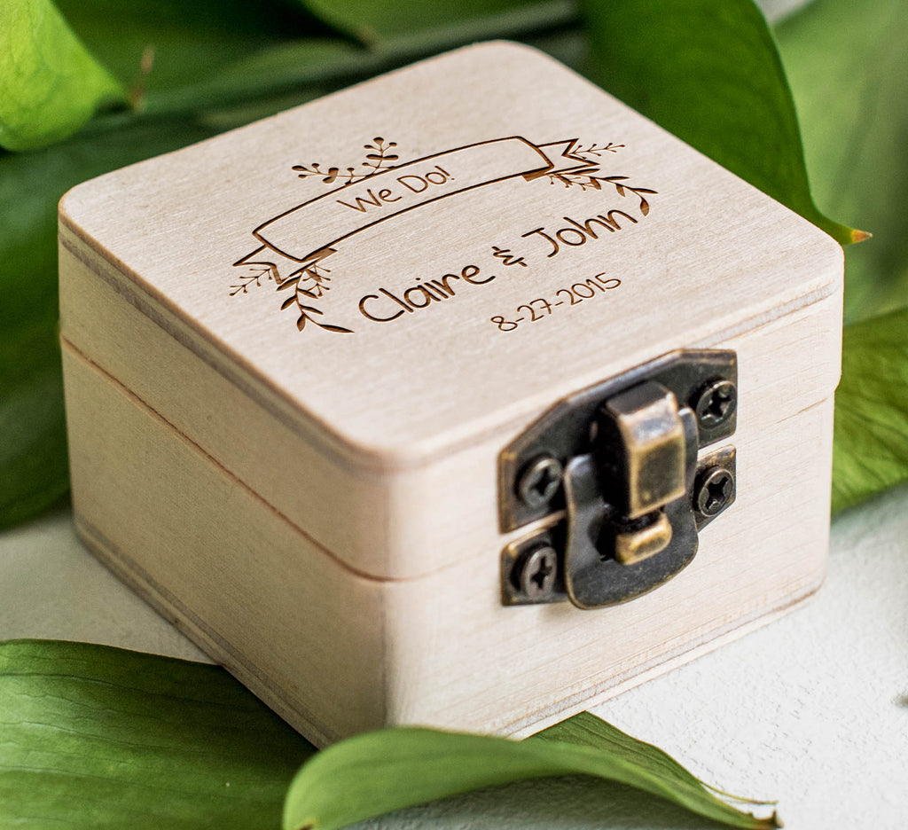 Personalised Wooden Keepsake Wedding Ring Bearer Box