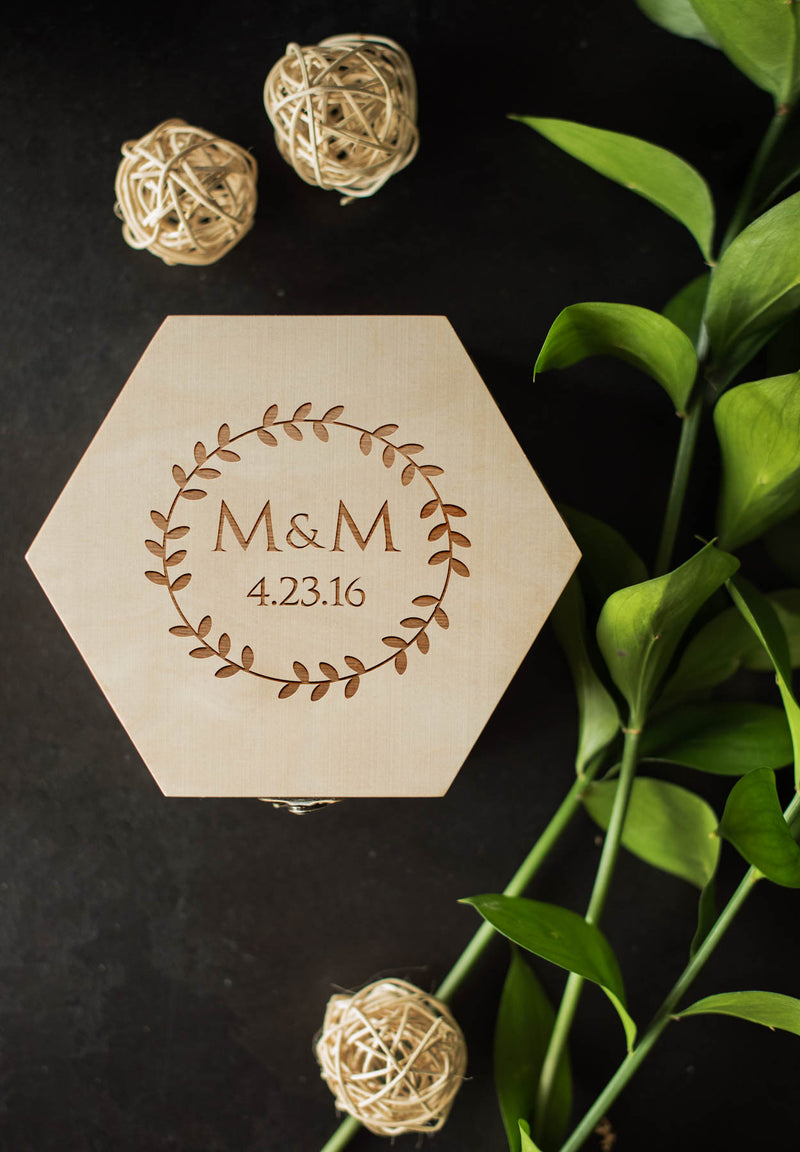 Geometric Hexagon Vintage Wood Jewelry Box    - GlobalWedding