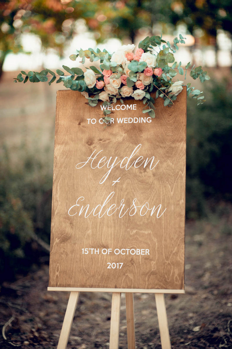 Wooden Wedding Reception Welcome Sign