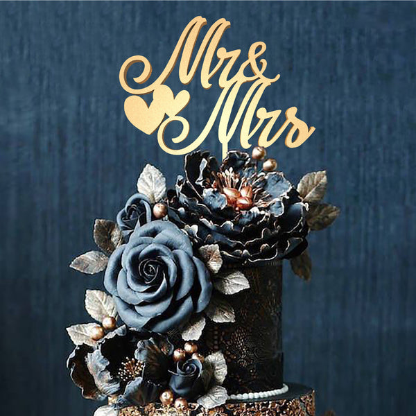 Gold Handmade Wedding Mr & Mrs Cake Topper  General Cake Topper  - MatchMadeAbroad