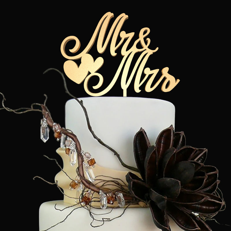 Gold Handmade Wedding Mr & Mrs Cake Topper  General Cake Topper  - GlobalWedding
