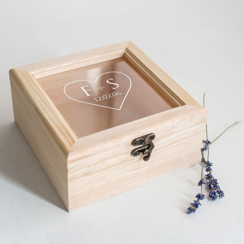 Modern Wood Glass Unique Jewelry Box