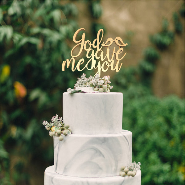 Copper Vintage Wedding God Gave Me You Cake Topper  Birthday Cake Topper  - GlobalWedding