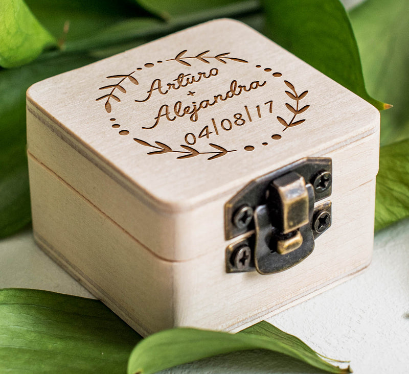 Rustic Wooden Personalized Ring Box