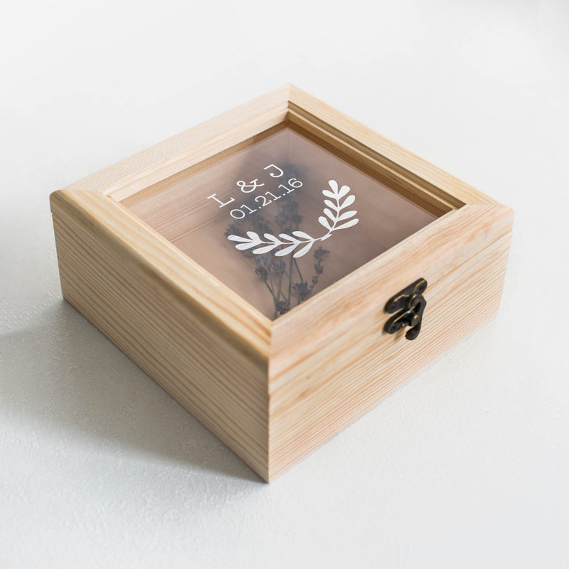 Wood Glass Geometric Unique Jewelry Box