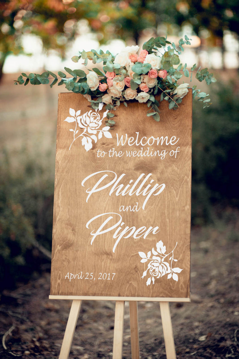 Wooden Welcome Reception Porch Sign