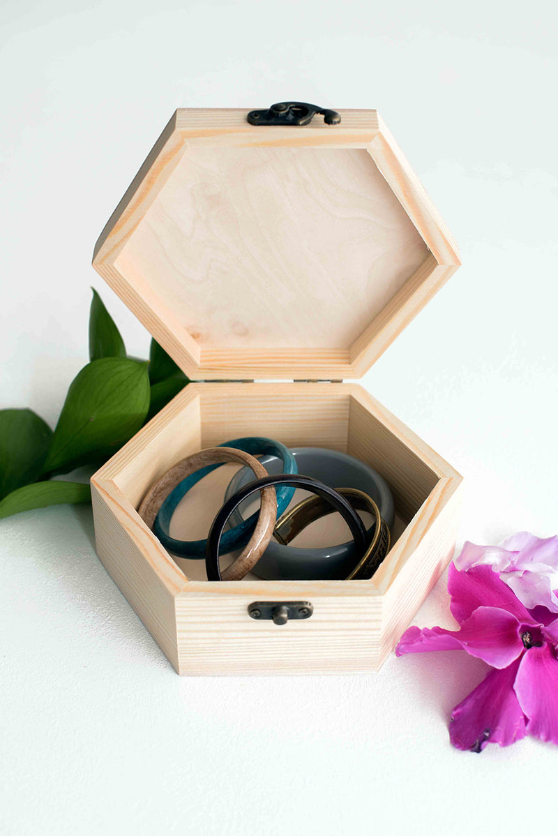 Wood Vintage Modern Jewelry Box