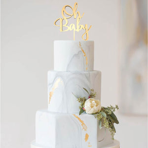 Handmade Vintage Silver Oh Baby Mirror Cake Topper  General Cake Topper  - GlobalWedding