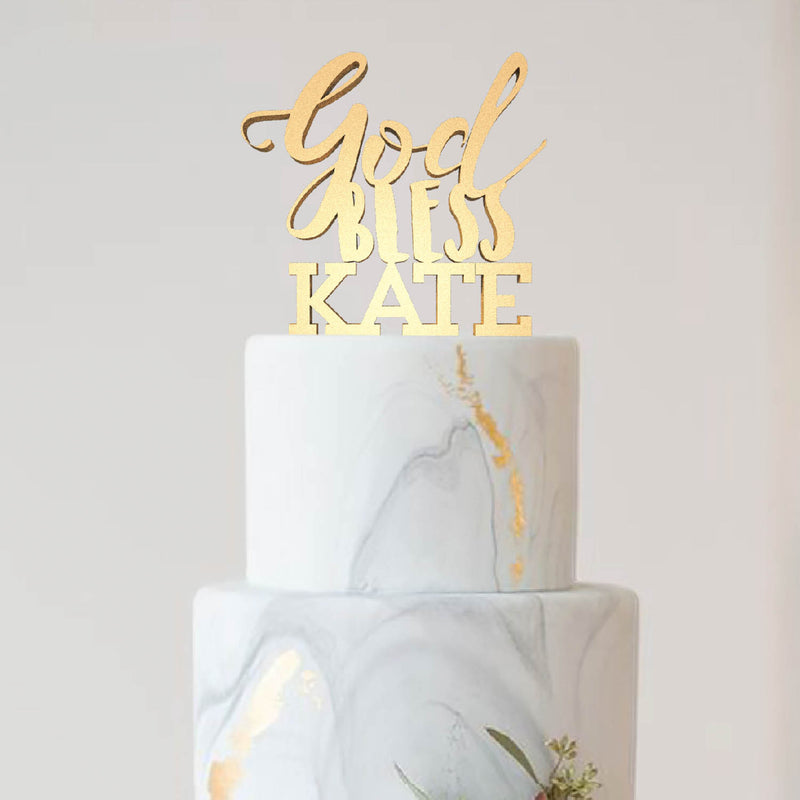 Custom Silver God Bless Kate Natural Copper Cake Topper  Personalised Cake Topper  - GlobalWedding