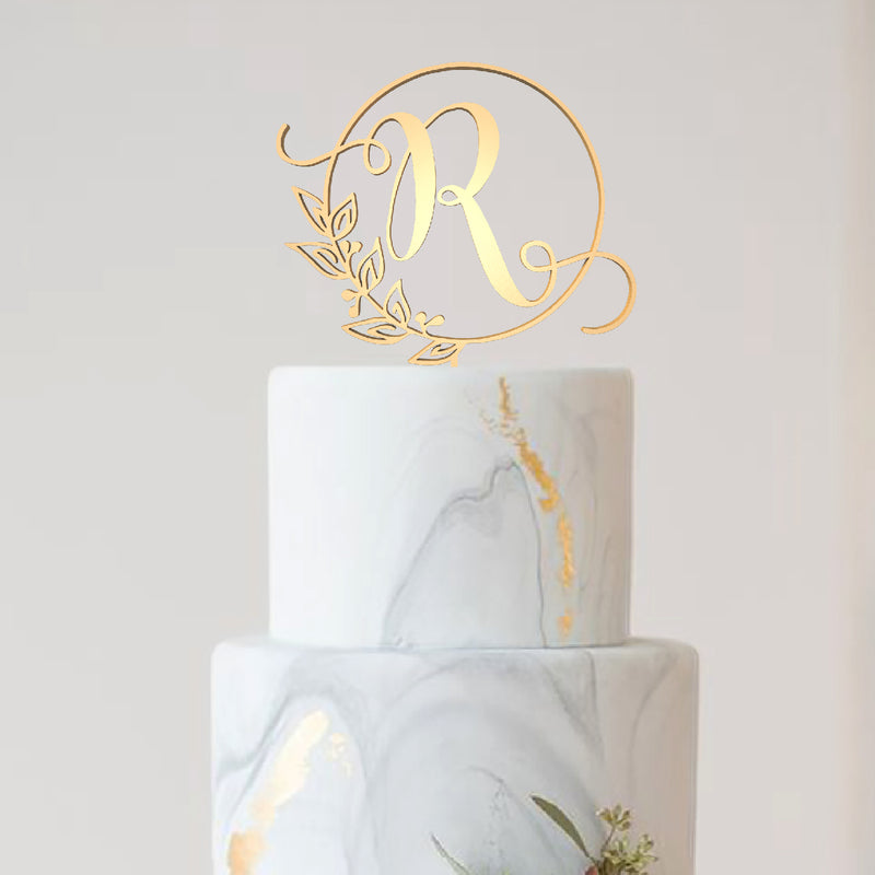 Glitter Wedding Rose Gold Personalized R Letter Cake Topper  Letter Cake Topper  - GlobalWedding