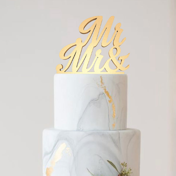 Champagne Metallic Mr & Mr Wedding Cake Topper  General Cake Topper  - GlobalWedding