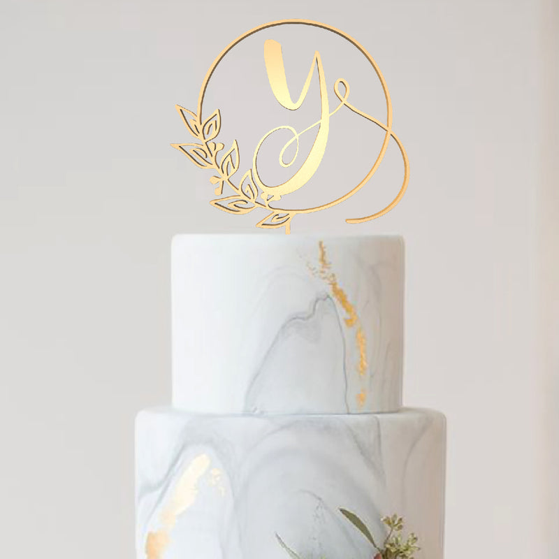 Gold Y Letter Decoration Cursive Mirror Cake Topper  Letter Cake Topper  - GlobalWedding