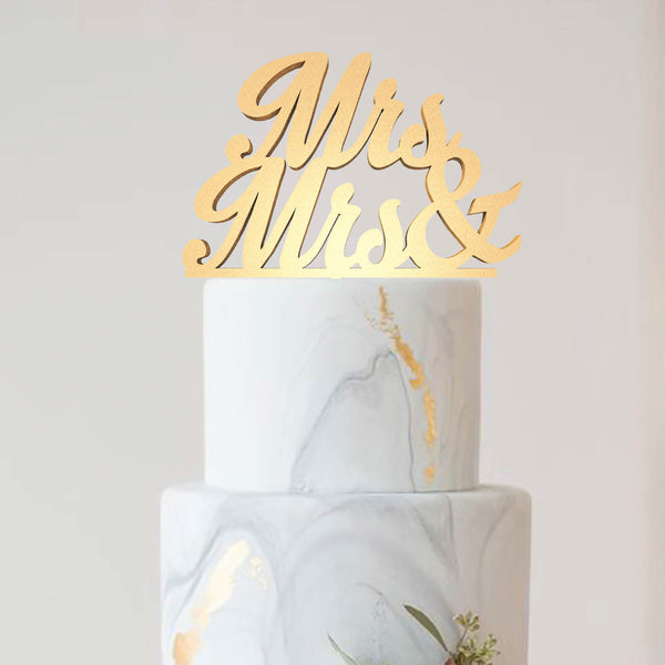Vintage Decoration Metallic Mrs & Mrs Cake Topper