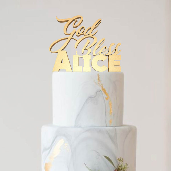 Handmade God Bless Alice Custom Personalized Christening Cake Topper  Personalised Cake Topper  - GlobalWedding