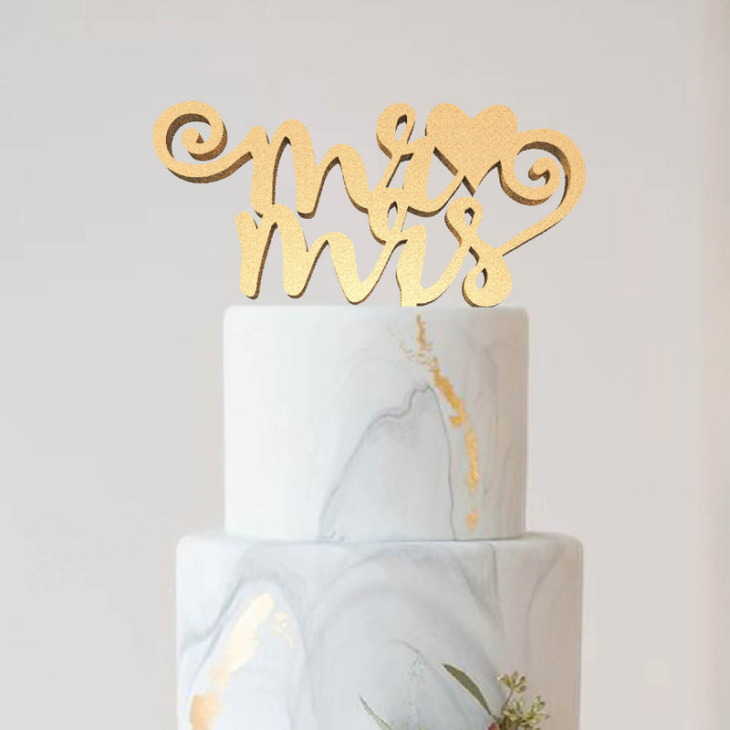 Elegant Natural Mr & Mrs Delicate Cake Topper  General Cake Topper  - MatchMadeAbroad