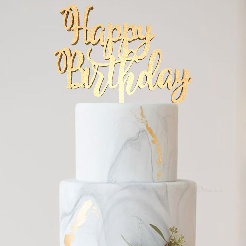 Birthday Cake Toppers - Mirror Rose Gold Natural Elegant Happy Birthday Cake Topper  Birthday Cake Topper  - GlobalWedding