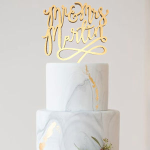 Custom Silver Champagne Glitter Mr & Mrs Martin Cake Topper  Personalised Cake Topper  - GlobalWedding