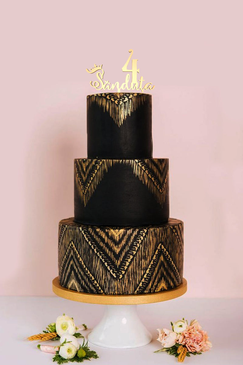 Calligraphy Wood Gold Name Cake Topper  Personalised Cake Topper  - MatchMadeAbroad
