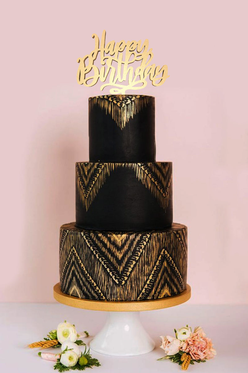 Wood Elegant Mirror Happy Birthday Cake Topper