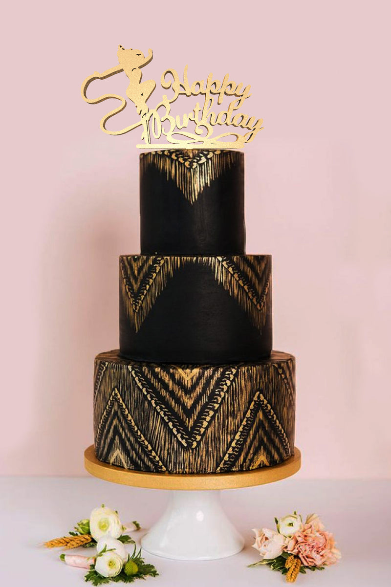 Gold Calligraphy Rustic Handmade Happy Birthday Cake Topper  Birthday Cake Topper  - GlobalWedding