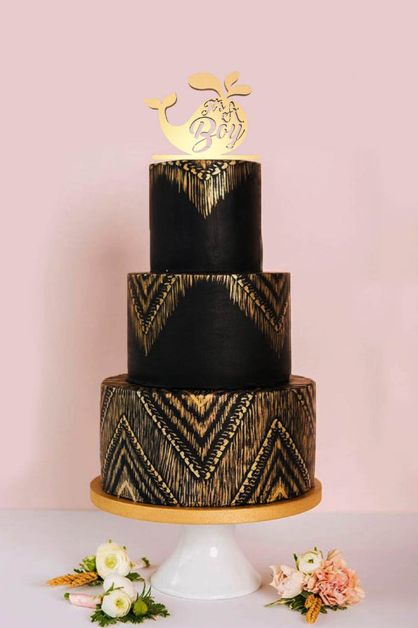 Vintage Gold Custom Its a Boy Cake Topper