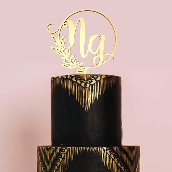 Glitter Mirror Copper NG Initials Vintage Cake Topper  Personalised Cake Topper  - GlobalWedding