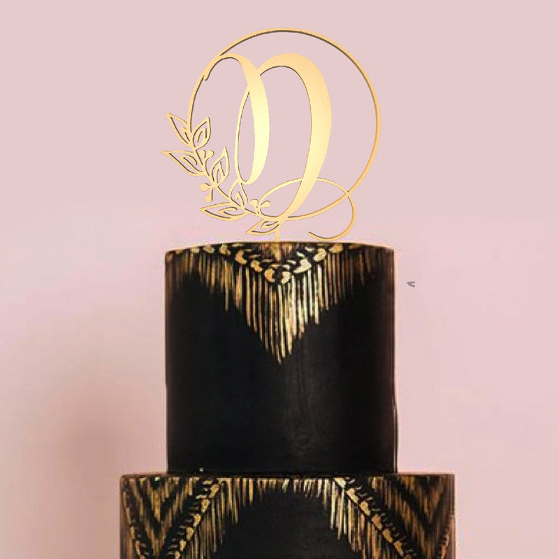Delicate Gold Wood Handmade D Letter Cake Topper  Letter Cake Topper  - MatchMadeAbroad
