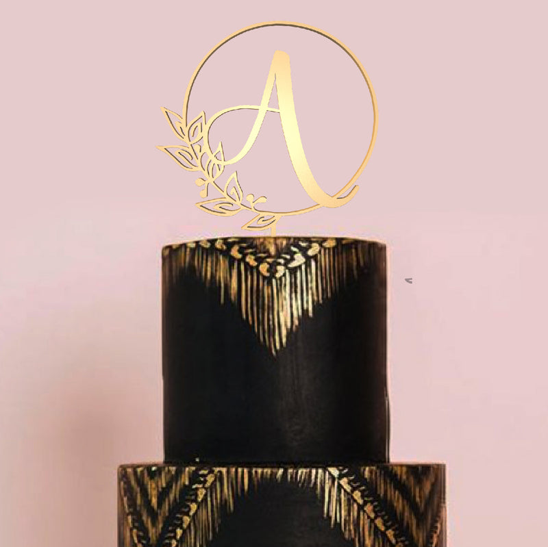 Initial A Letter Metallic Decoration Cake Topper  Letter Cake Topper  - GlobalWedding