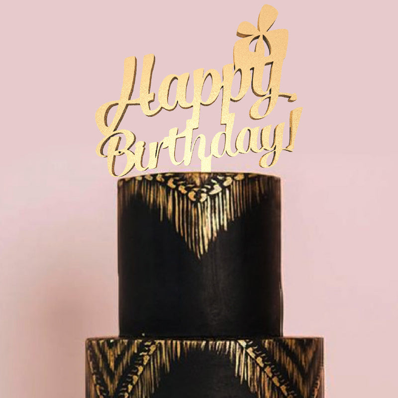 Elegant Rustic Calligraphy Custom Happy Birthday Cake Topper  Birthday Cake Topper  - GlobalWedding