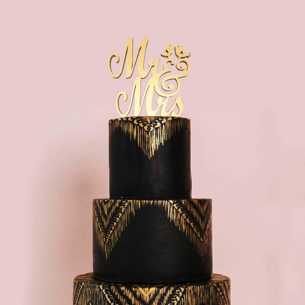 Copper Wood Mr & Mrs Vintage Cake Topper  General Cake Topper  - GlobalWedding