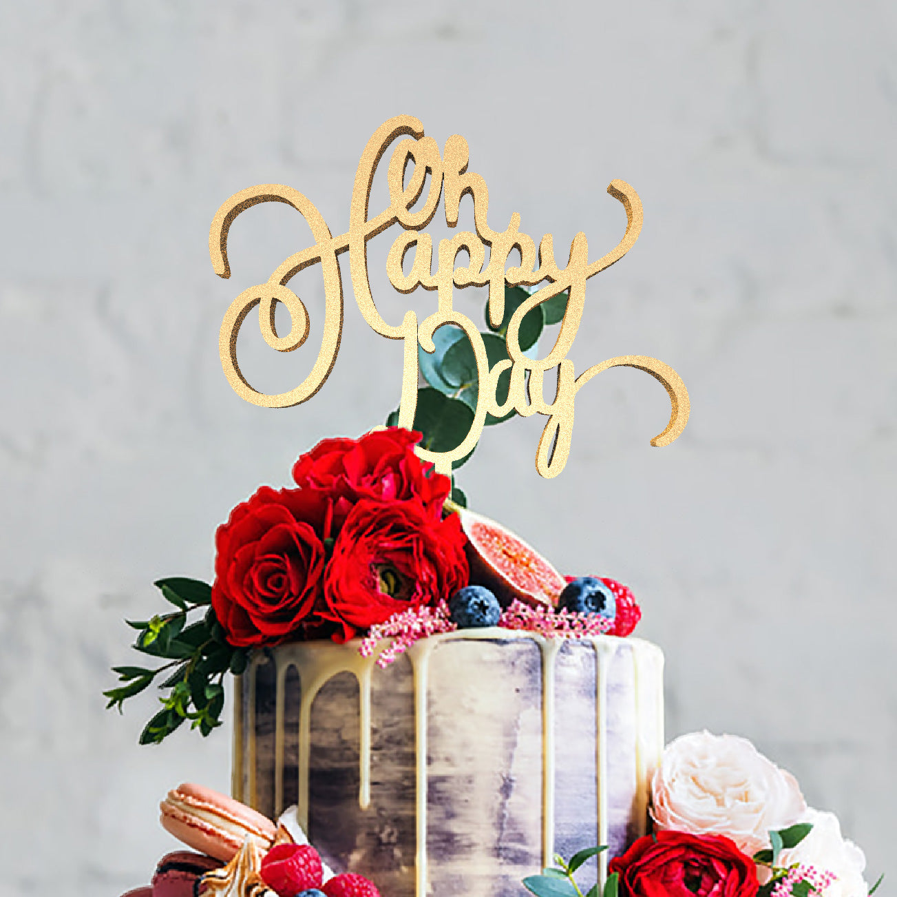 Glitter Cursive Her Happy Day Mirror Wedding Cake Topper  Birthday Cake Topper  - GlobalWedding