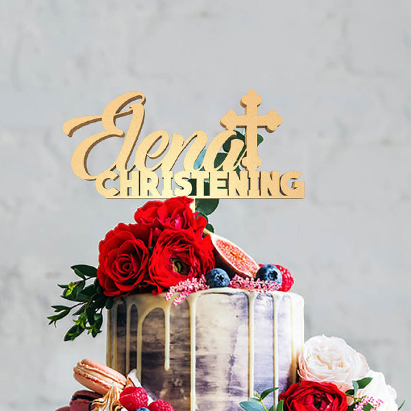 Gold Elena Christening Rustic Elegant Cake Topper  Personalised Cake Topper  - GlobalWedding