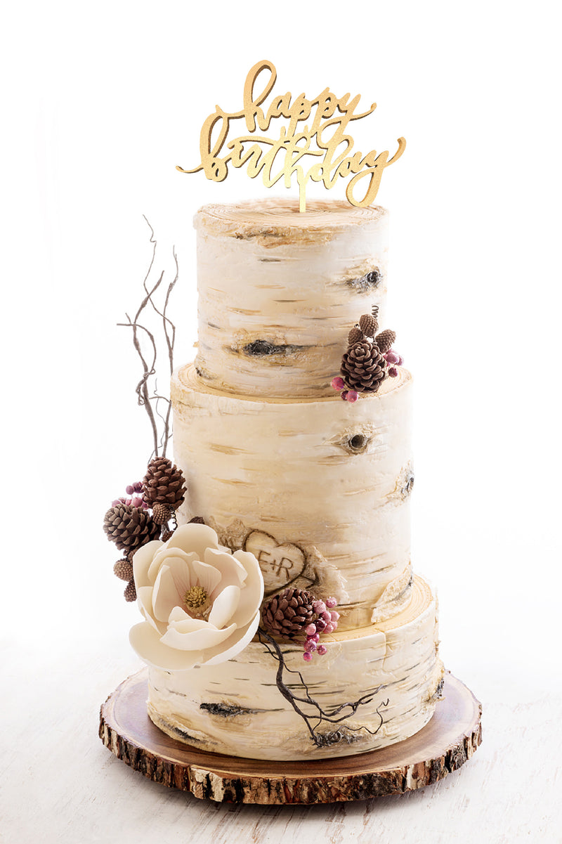 Natural Wood Silver Calligraphy Happy Birthday Cake Topper